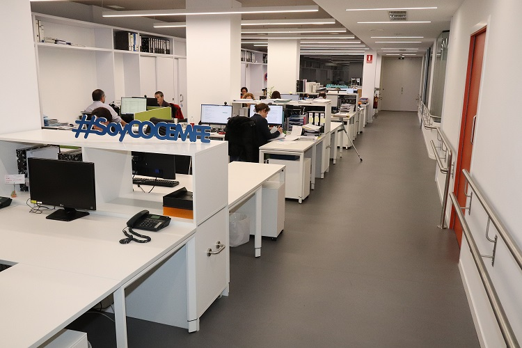 Imagen que muestra nuestra oficina y trbajadores en sus puestos de trabajo. Enlaza con la web de COCEMFE