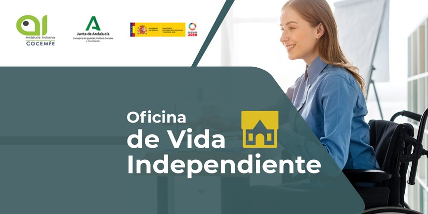 Cartel de las Oficinas de Vida Independiente de Andalucía Inclusiva Cocemfe