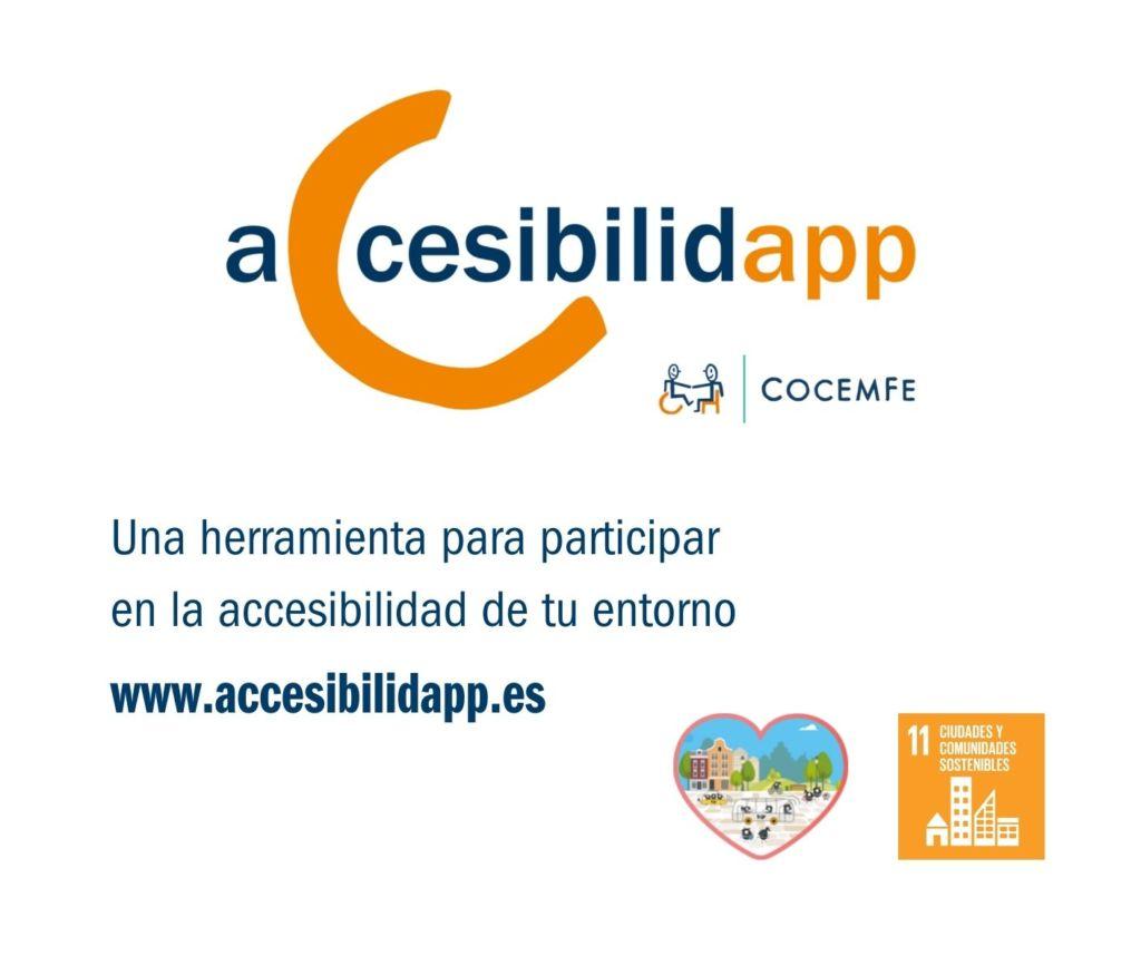 """IMAGEN CON TEXTO. logo de ACCESIBILIDAD. """"Una herramienta para participar en la accesibilidad de tu entorno"""". Logo de la SEM21 y ODS11"""""""